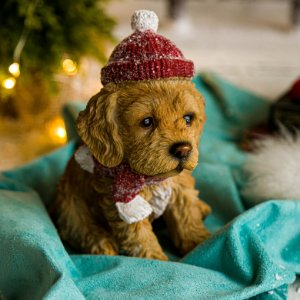 Cachorrinho Labrador com Gorro de Natal