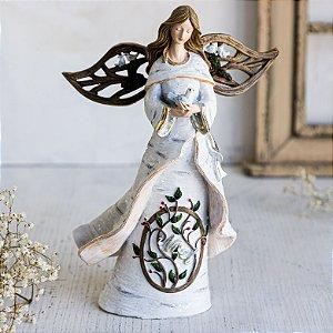 Anjo com Mensagem de Noel e Pássaro Branco