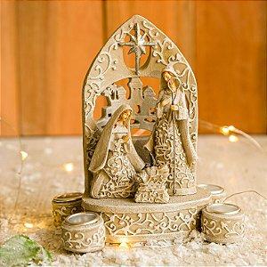 Porta Velas Advento com Sagrada Família