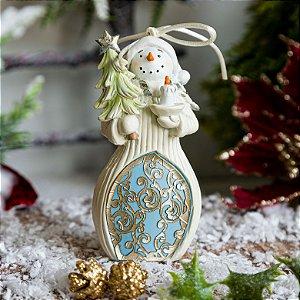 Enfeite Boneco de Neve com Árvore de Natal