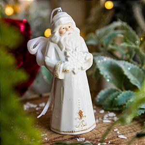 Papai Noel de Porcelana com Floco de Neve