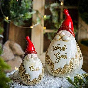 Papai Noel Decorativo Louça (M)  PERSONALIZÁVEL