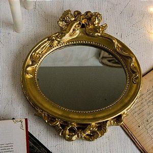 Espelho Oval Anjo Dourado