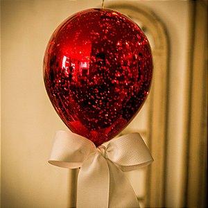 Luminaria Balão Craquelê Vermelho (G)
