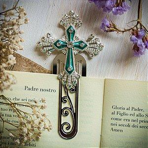 Marcador de Livro Crucifixo Esmeralda