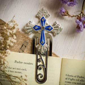 Marcador de Livro Crucifixo Azul
