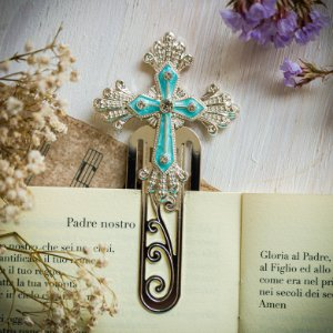 Marcador de Livro Crucifixo Turquesa