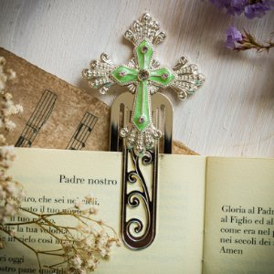 Marcador de Livro Crucifixo Verde