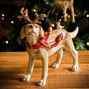 Cachorrinho Labrador com Cachecol de Natal