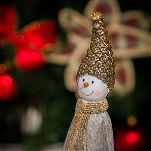 Boneco de Neve Chapéu de Pinha e Rena Dourada