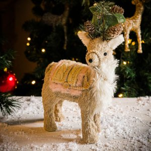 Rena de Natal com Enfeite de Pinhas