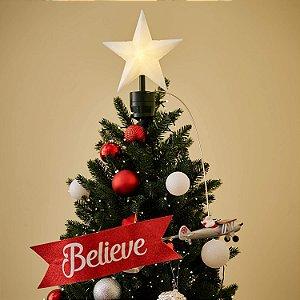 Ponteira de Árvore de Natal Papai Noel Believe
