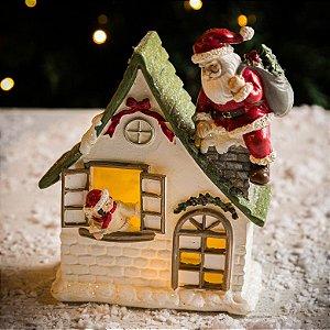 Casinha com Papai Noel e Led