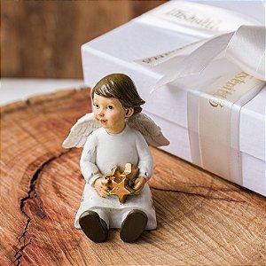 Anjo Sentado com 3 Estrelas Personalizado