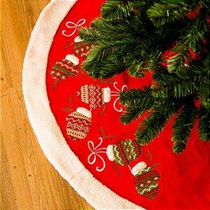 Saia de Arvore de Natal com Luvas Bordadas