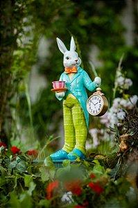 Coelho com Xícara e Relógio Wonderland - 47cm - (Pré Venda)