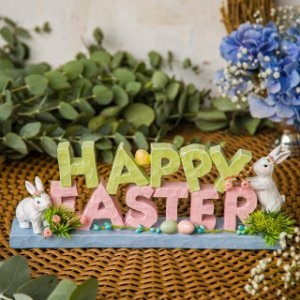Letreiro Happy Easter com Coelho