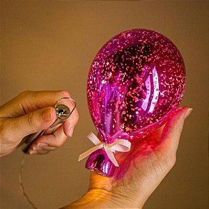 Luminária Balão Craquelê Rosa 8 leds - M