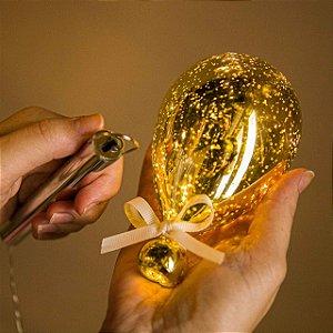 Luminária Balão Craquelê Dourado - P- 6 Leds