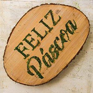 Placa Decorativa de Madeira Feliz Páscoa