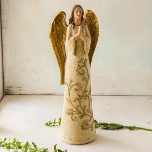 Anjo em Oração com Vestido de Azevinho