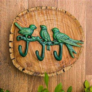 Porta Chaves Pássaros Verde