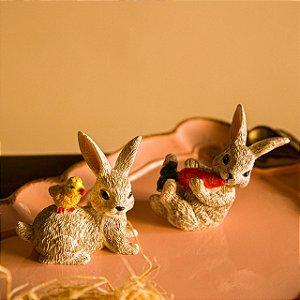 Mini Dupla de Coelhinhos com Cenoura e Pintinho