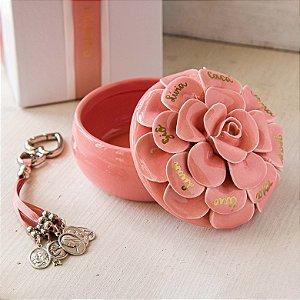 Camélia Familiar Personalizada com Pingente Rose de Bolsa e Chave