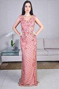 Vestido Longo de Renda Bordada Arte Sacra Coutture - Rosa