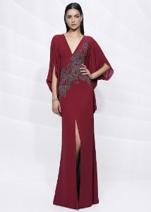 Vestido Longo de Crepe Bordado Arte Sacra Coutture - Marsala