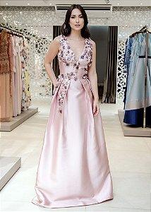 Vestido Longo de Zibeline com Flores M.Rodarte - Rosa