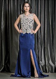 Vestido Longo com Bolero de Renda M.Rodarte - Azul e Dourado