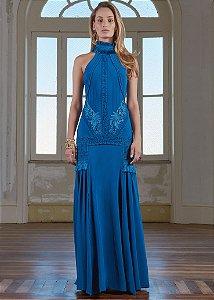 Vestido Longo de Crepe Patchoulee - Azul Petróleo