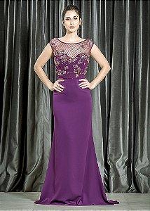 Vestido Longo de Crepe com Pedrarias Pronovias - Roxo Uva