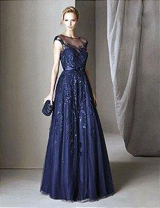 Vestido Longo de Tule Bordado Pronovias - Azul