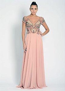 Vestido Longo de Musseline Bordado Ellizabeth Marques - Rosê