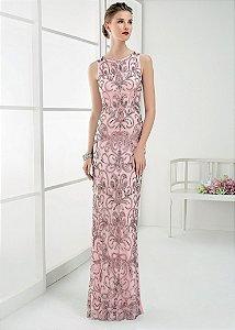 Vestido Longo de Tule Bordado Rosa Clará - Rosa