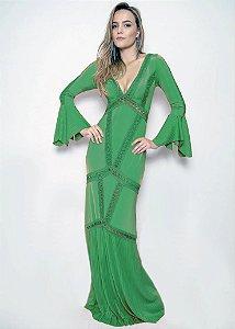 Vestido Longo de Malha Boho UH Premium - Verde