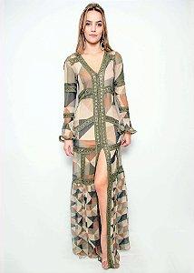 Vestido Longo de Seda UH Premium - Estampa Geométrica Verde