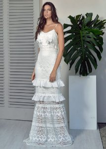 Vestido Longo de Renda Unity Seven - Branco