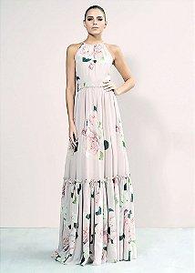 Vestido Longo de Crepe Unity Seven - Rosa Estampado