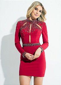 Vestido Curto Bordado Rachel Allan - Vermelho