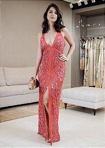 Vestido Longo de Renda Bordada UH Premium - Vermelho Goiaba