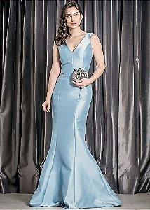Vestido Longo de Mikado Arte Sacra Coutture - Azul Claro