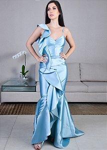 Vestido Longo de Zibeline Unity Seven - Azul Claro
