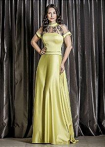 Vestido Longo de Mikado Arte Sacra Coutture - Amarelo Limão