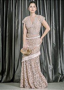 Vestido Longo de Renda e Tule Bordado UH Premium - Rosê