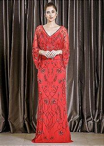 Vestido Longo de Tule Bordado Arte Sacra Coutture - Vermelho