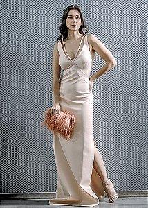 Vestido Longo de Mikado Arte Sacra Coutture - Nude