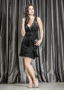 Vestido Curto de Renda Guipir Bordada UH Premium - Preto